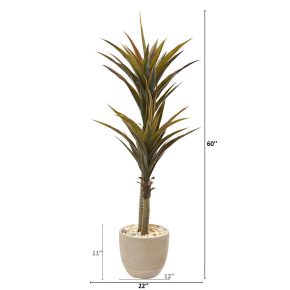 5 Yucca Artificial Tree in Sandstone Planter - SKU #9564 - 1