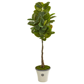 67 Rubber Leaf Artificial Tree in Planter Real Touch - SKU #9565