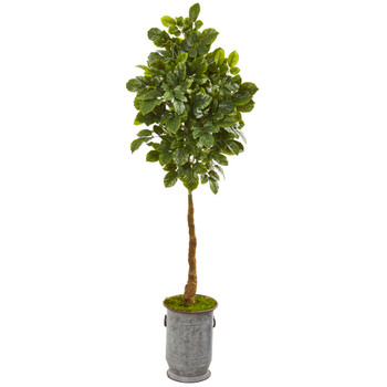 6 Beech Leaf Artificial Tree in Metal Planter with Copper Trimming - SKU #9574
