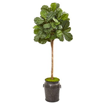 6 Fiddle Leaf Fig Artificial Tree in Metal Planter - SKU #9575