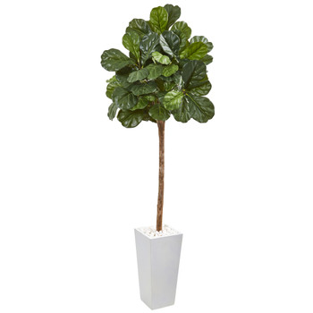 75 Fiddle Leaf Fig Artificial Tree in White Planter - SKU #9576