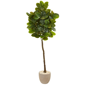 78 Rubber Leaf Artificial Tree in Sand Stone Planter Real Touch - SKU #9578