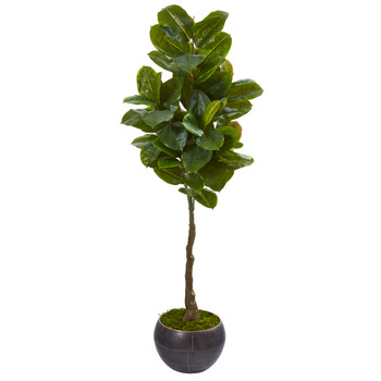 64 Rubber Leaf Artificial Tree in Metal Planter Real Touch - SKU #9579