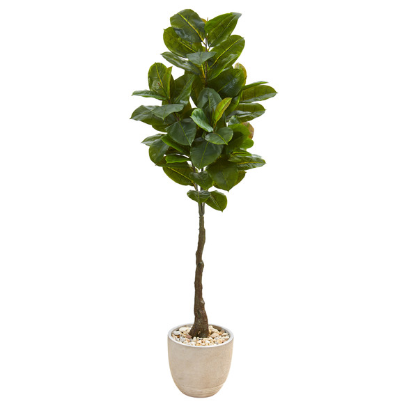 67 Rubber Leaf Artificial Tree in Sandstone Planter Real Touch - SKU #9580