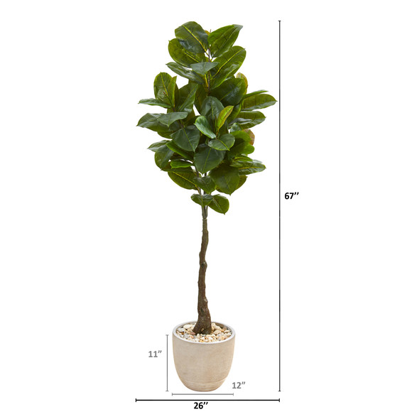 67 Rubber Leaf Artificial Tree in Sandstone Planter Real Touch - SKU #9580 - 1