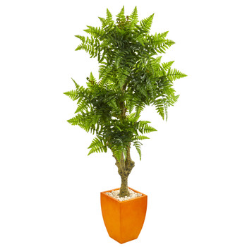 75 Boston Fern Artificial Tree in Planter UV Resistant Indoor/Outdoor - SKU #9581