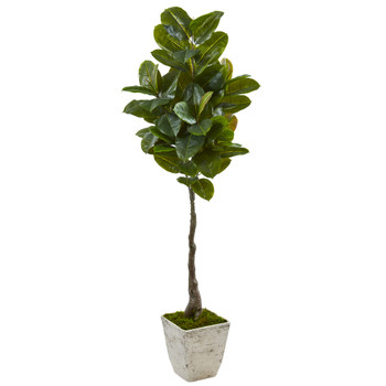 67 Rubber Leaf Artificial Tree in White Planter Real Touch - SKU #9582
