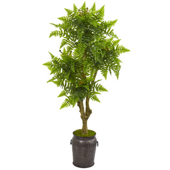 75 Boston Fern Artificial Tree in Planter UV Resistant Indoor/Outdoor - SKU #9583
