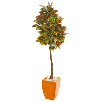 6 Croton Artificial Tree in Orange Planter - SKU #9584