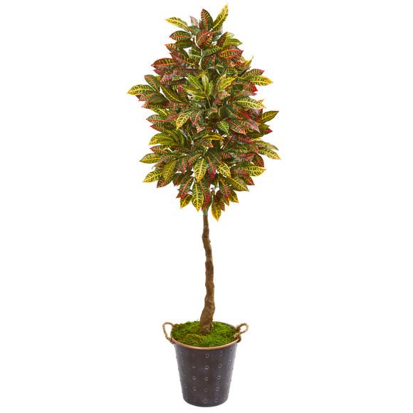 70 Croton Artificial Tree in Decorative Planter - SKU #9585