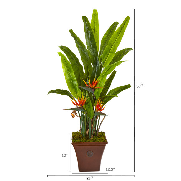 59 Bird of Paradise Artificial Plant in Brown Planter - SKU #9586 - 1
