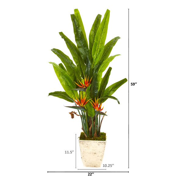 59 Bird of Paradise Artificial Plant in Country White Planter - SKU #9587 - 1
