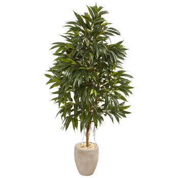 74 Royal Ficus Artificial Tree in Sand Colored Planter - SKU #9589