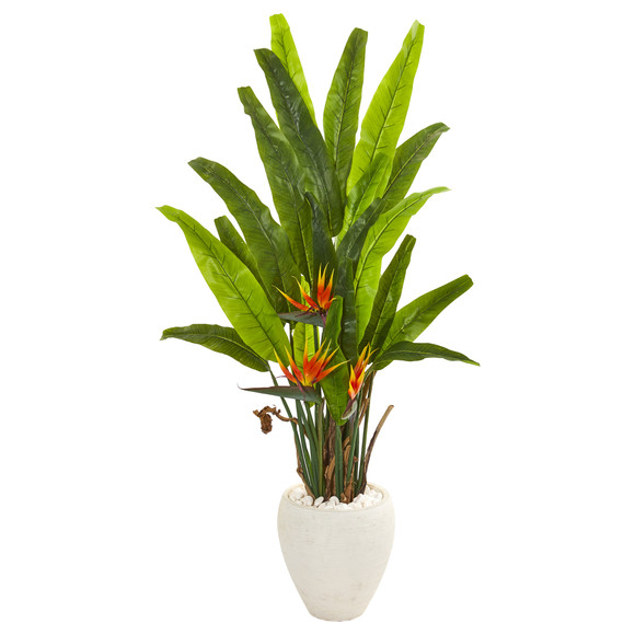 59 Bird of Paradise Artificial Plant in White Planter - SKU #9590