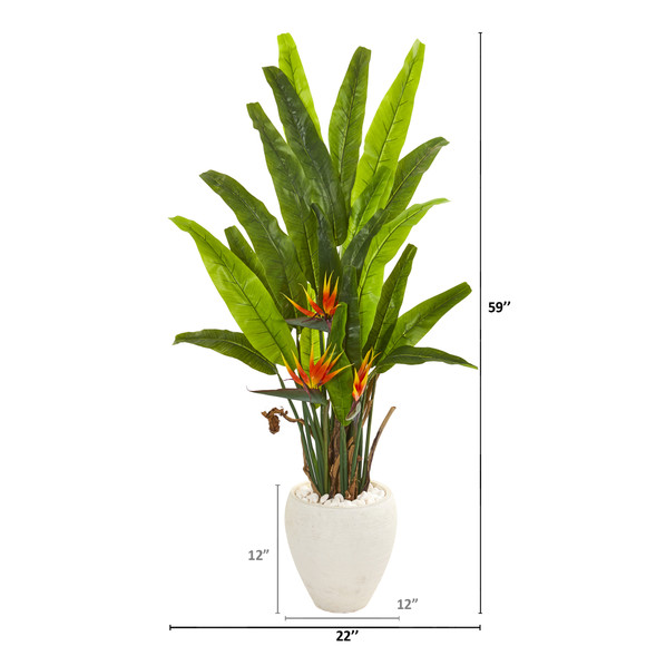 59 Bird of Paradise Artificial Plant in White Planter - SKU #9590 - 1
