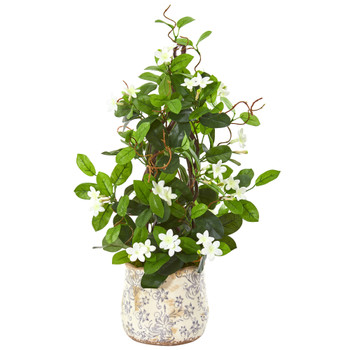 25 Stephanotis Artificial Climbing Plant in Decorative Planter - SKU #9594