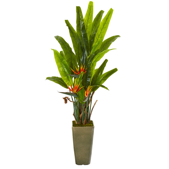 62 Bird of Paradise Artificial Plant in Olive Green Planter - SKU #9596