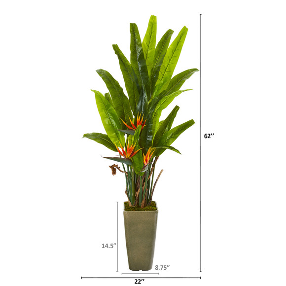62 Bird of Paradise Artificial Plant in Olive Green Planter - SKU #9596 - 1