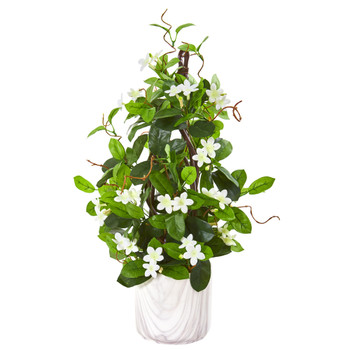 23 Stephanotis Artificial Climbing Plant in Marble Vase - SKU #9597