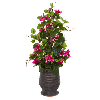 27 Bougainvillea Artificial Climbing Plant in Ribbed Planter - SKU #9598