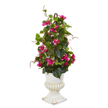 29 Bougainvillea Artificial Climbing Plant in White Urn - SKU #9599