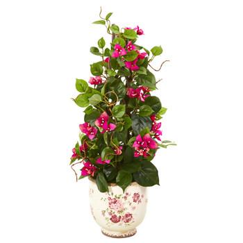 25 Bougainvillea Artificial Climbing Plant in Floral Vase - SKU #9604