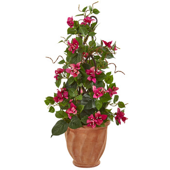 25 Bougainvillea Artificial Climbing Plant in Terra Cotta Planter - SKU #9605