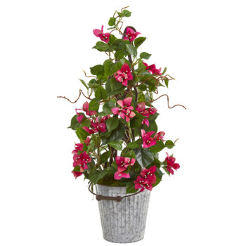 26 Bougainvillea Artificial Climbing Plant in Metal Bucket - SKU #9606