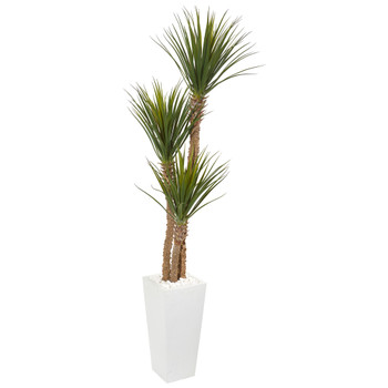 74 Yucca Artificial Tree in White Tower Planter - SKU #9607