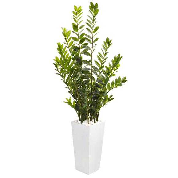 65 Zamioculcas Artificial Plant in White Planter - SKU #9608