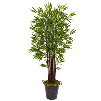 74 Bamboo Artificial Tree in Metal Planter - SKU #9609