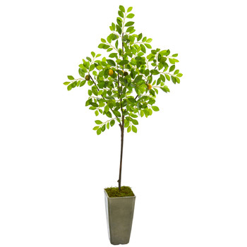 6 Lemon Artificial Tree in Olive Green Planter - SKU #9612