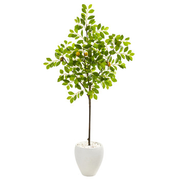 68 Lemon Artificial Tree in White Planter - SKU #9613