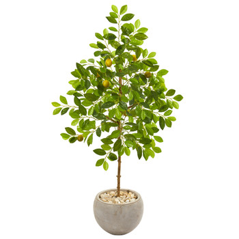 54 Lemon Artificial Tree in Sand Colored Planter - SKU #9616