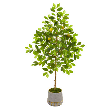 52 Lemon Artificial Tree in Stoneware Vase with Gold Trimming - SKU #9617