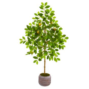 51 Lemon Artificial Tree in Stoneware Planter - SKU #9619