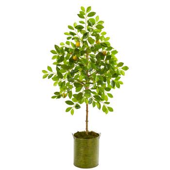 55 Lemon Artificial Tree in Green Planter - SKU #9620