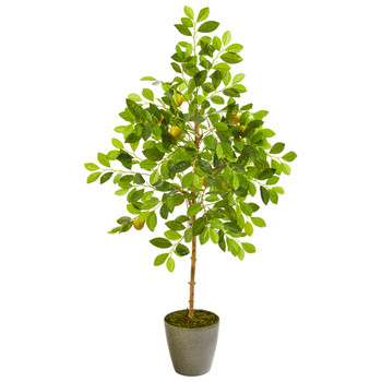 54 Lemon Artificial Tree in Olive Green Planter - SKU #9621