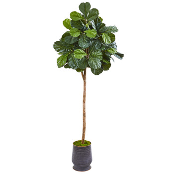 80 Fiddle Leaf Fig Artificial tree in Ribbed Metal Planter - SKU #9628