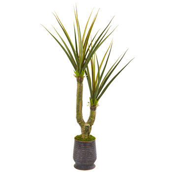 69 Yucca Artificial Plant in Ribbed Metal Planter - SKU #9629