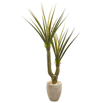 68 Yucca Artificial Plant in Sand Colored Planter - SKU #9633
