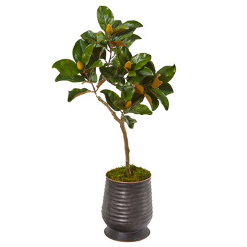 46 Magnolia Leaf Artificial Tree in Ribbed Metal Planter - SKU #9635