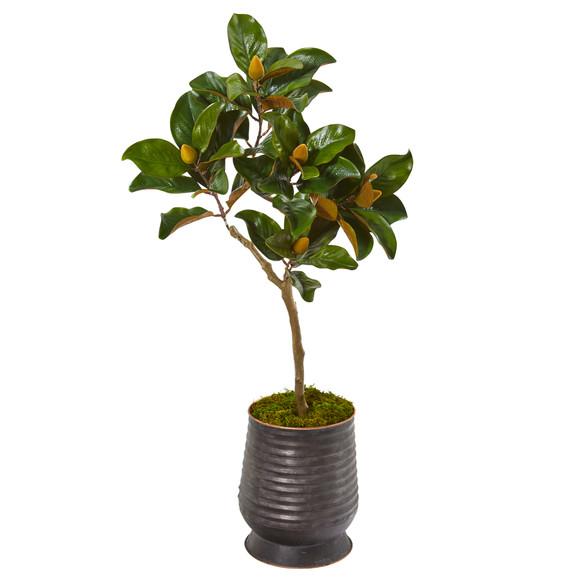 46 Magnolia Leaf Artificial Tree in Ribbed Metal Planter - SKU #9635