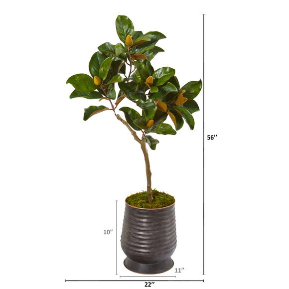 46 Magnolia Leaf Artificial Tree in Ribbed Metal Planter - SKU #9635 - 1