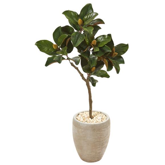 45 Magnolia Leaf Artificial Tree in Sand Colored Planter - SKU #9637