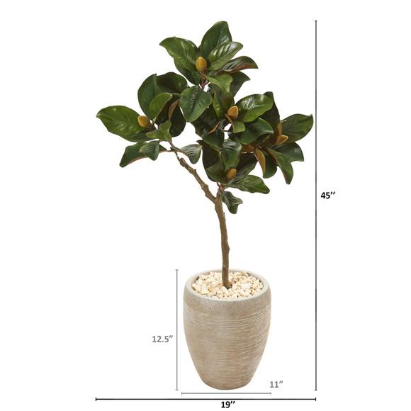 45 Magnolia Leaf Artificial Tree in Sand Colored Planter - SKU #9637 - 1