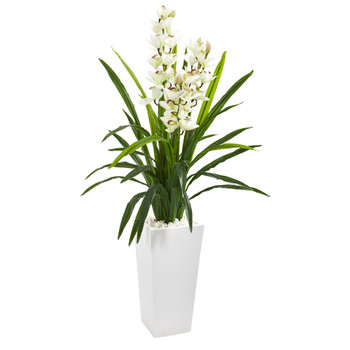 4.5 Cymbidium Orchid Artificial Plant in White Tower Planter - SKU #9640