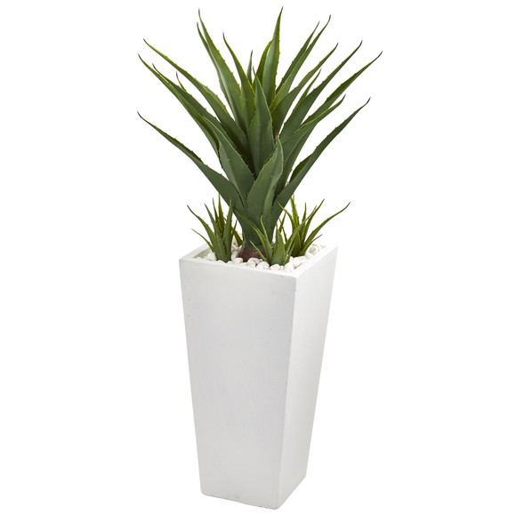 40 Spiky Agave Artificial Plant in White Planter - SKU #9641