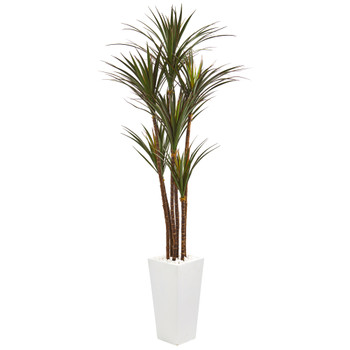 6.5 Giant Yucca Artificial Tree in White Planter UV Resistant - SKU #9647