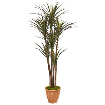 69 Giant Yucca Artificial Tree in Terracotta Planter UV Resistant Indoor/Outdoor - SKU #9648
